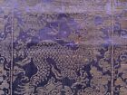 Antique Embroidered Panel Sapphire Blue 5 Clawed Heavenly Dragon Red Eye Chinese