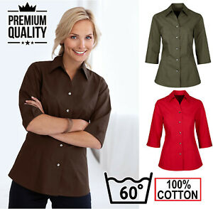 Ladies 3/4 Sleeve Formal Oxford Shirt Blouse BUSINESS OFFICE WORK & CASUAL