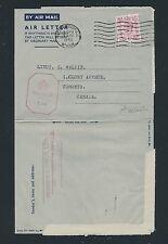 04225) GB / UK Aerogramme 6p Birmingham 1943 > Lt. Canada, Zensur