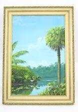 Vtg Pink Flamingo Original Painting Al Gessinger Florida Water Palm Trees 1969