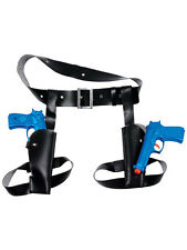 Twin Waist Holster with Toy Plastic Guns Fancy Dress Lara Croft Cowboy FBI New
