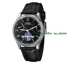 43mm Parnis Silver Case Black Dial Leather Strap Power Reserve Automatic Watches