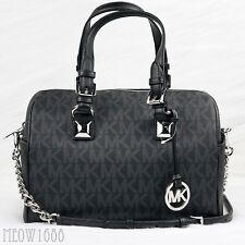 New Michael Kors GRAYSON Black Logo Crossbody Chain Satchel Purse Bag $348