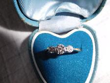 Antique 18ct Gold & Plat Illusion Set Three Stone Diamond Ring (Size P/Q)