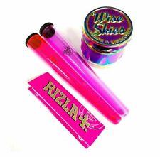 Pink Smoking Set - Rainbow Wise Skies Grinder, Rizla Pink Rolling Papers Gift UK