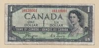 Devil's Face 1954 $1 Bank of Canada Coyne Towers - VG