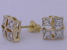 E021- Gorgeous 9ct Solid Yellow Gold Natural Diamond Stud EARRINGS
