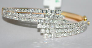 4.69ct NATURAL ROUND DIAMOND 14K YELLOW GOLD WEDDING ANNIVERSARY BRACELET