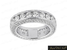 Natural 1.75Ct Diamond Milgrain Accents Eternity Band Ring 18k White Gold F VS2