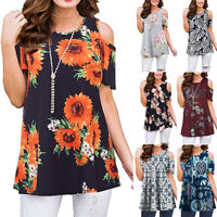 LAPA Womens Floral Cold Shoulder Casual Tops Short Sleeve Blouse Tunic T-Shirt