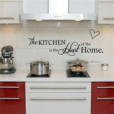 1Pcs Kitchen is the Heart of Home Wall Stickers Quote Removable Wall Decal Decor