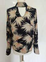 MARLEY Women Top Long Sleeve Cut out Navy High Neck Print Blogger 10 12
