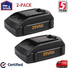 2-Pack for Worx 20V 2.0Ah Li-ion Battery WA3520 WA3525 WG890 WG540 WG169 WG155