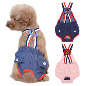 Cute Dog Cat Diapers Washable Reusable Pet Sanitary Panties with Suspender Denim