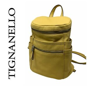 Tignanello Yellow Pebbled Leather Backpack Pack Purse Bag Zipper Straps