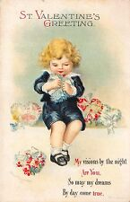 Clapsaddle art Valentine's Day PC Boy Making Heart Shaped Bouquet Flowers~113084
