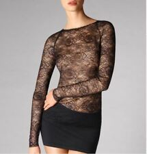 WOLFORD STRETCH LACE PULLOVER 52535, TOP, size 36, UK 8-10, in Black, New in box