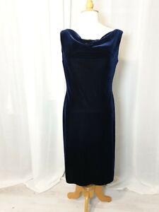 Classic Navy Blue Velvet Dress Occasionwear Midi 14 Cowl Neck