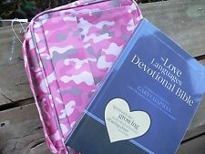 NLT Love Languages Devotional BIBLE Gary Chapman + Pink Camo Bible Lined Cover