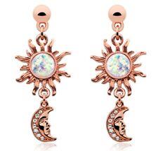 Earrings IP Rose Gold Celestial Sun Moon Dangle Ear Stud Earring
