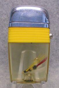 Vintage Scripto Vu Yellow Band Fish Hook  advertising lighter NICE