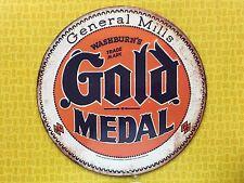 RETRO VINTAGE GENERAL MILLS GOLD MEDAL FLOUR EMBOSSED BUTTON METAL TIN SIGN