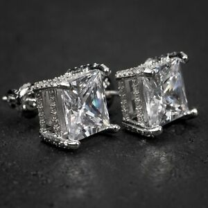 White Gold Sterling Silver Princess Cut Fully Iced CZ Stud Screw Back Earrings