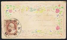 USA 1860 c. 3c on superb Hand Coloured Ladies Envelope Savannah to Ohio