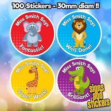 100 Personalised School Teachers Children jungle Well Done Reward label sticker