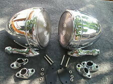 NEW SET RIGHT / LEFT CHROME METAL VINTAGE STYLE DUMMY SPOT LIGHTS # 86