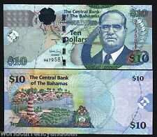 BAHAMAS 10 DOLLARS P73 A 2009 SANDS MAP SHIP LIGHTHOUSE UNC CARIBBEAN MONEY NOTE