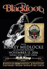 BLACKFOOT /RICKEY MEDLOCKE 2016 NEW YORK CONCERT TOUR POSTER-Southern Rock Music