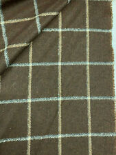 Brown Window Pane Check, Checked 100% Wool Jacket Coat Fabric. 500g