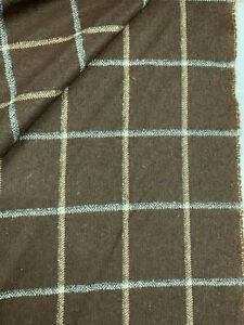 Brown Window Pane Check, Checked 100% Wool Jacket Coat Fabric. 500g
