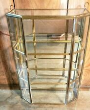 "Display Cabinet 10"" Tall Glass & Brass Curio 3 compartments Vintage"