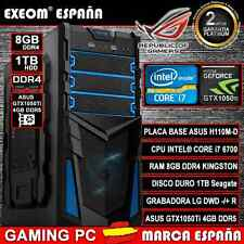 Ordenador Gaming Pc Intel i7 6700 8GB DDR4 1TB Asus GTX1050 4GB DDR5 Juegos