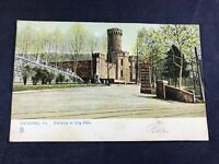 W3-4 VINTAGE POST CARD - POSTED 1907 - ENTRANCE TO CITY PARK, READING, PA