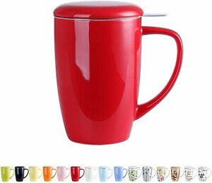 LOVECASA 450ml Ceramic Tea Cup Coffee Mug with Lid Stainless Steel Infuser Red