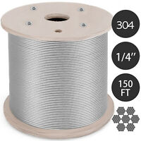 "T304 Stainless Steel Cable Wire Rope,1/4"",7x19,150ft Reel Lifting Cable Railing"