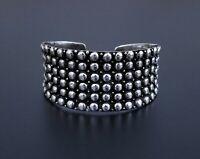 "VTG Sterling Silver Pebbled Caviar Graduated Wide Cuff Bracelet, 6 3/4"" 33.75g"