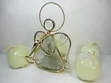 Glass & Brass Tone Angel Halo Tea Light Candle Holder with 4 Round Candles Kohls