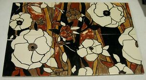 Set of Six Decorative Tiles with Brown Floral Design