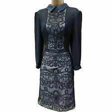 KAREN MILLEN DR036 Black Graphic Lace Embroidery Cocktail Shift Dress 10 UK 38