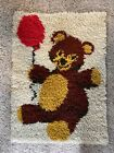 """Vintage Latch Hook Rug Wall Hanging Teddy Bear With A Red Balloon 19.5x27"""""""