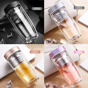 Double Wall Glass Tea Tumbler Sport Water Bottle Filter Infuser Travel Mug Cup !