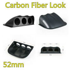 New Carbon Fiber Look Car Dash ABS Plastic 3 Hole Gauge Pod Mount Holder 52mm