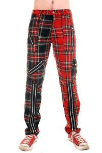 Red and Multi Zip Bondage Split Leg Pants