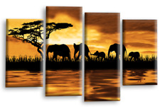 ELEPHANT ART PICTURE BROWN GREY SUNSET ON WATER WALL CANVAS SPLIT PANEL 112 cm