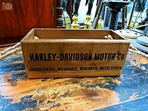 HARLEY DAVIDSON VINTAGE ANTIQUE STYLE WOOD BOX TRUG, Many Uses & Great Gift