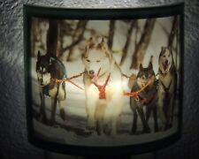 Husky Sled Dogs LED Plug In Night Light -  Winter Decor - Dog Lover Gift